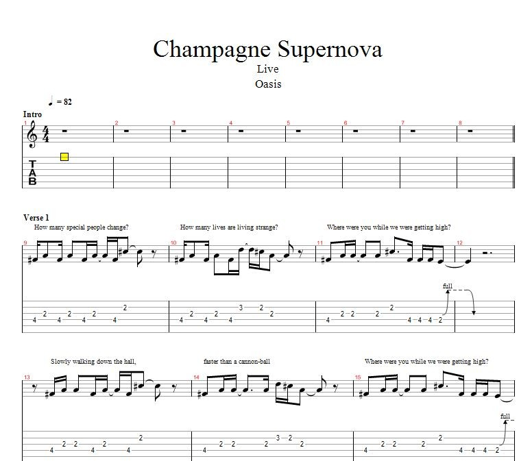 Oasis Champagne Supernova [악보/가사/기타프로] : 네이버 블로그
