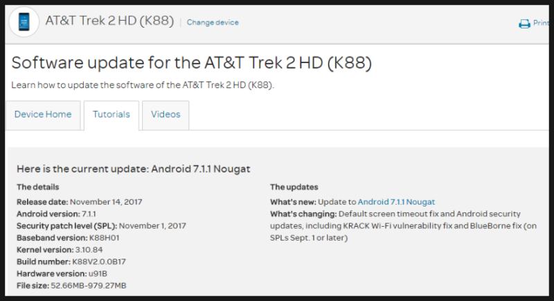 ZTE Trek 2 HD K88 : 안드로이드 7 1 1 B17 업데이트 내용 정리 & 기본