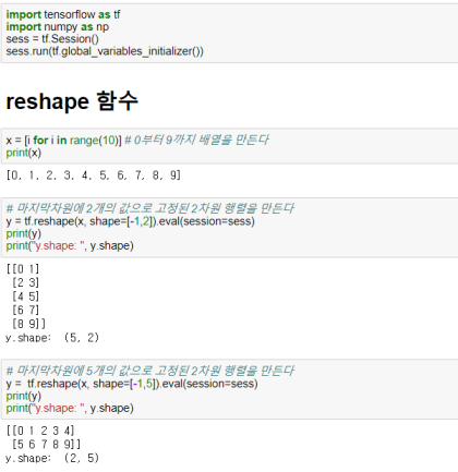 Tensorflow][기초] reshape, squeeze, expand_dims함수 소개 및